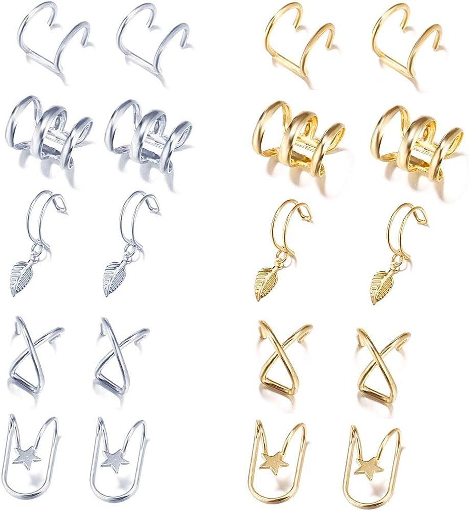 Yeegor 10Pairs Ear Cuff Earrings for Women Cuff Helix Cartilage Clip on Wrap Earrings Non-Piercing Jewelry Adjustable