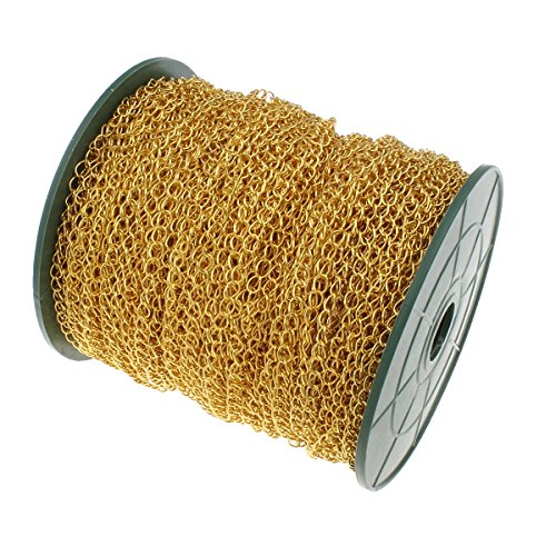 Perlin 3 Meter Gliederkette Link Kette Metallkette Twist Panzerkette 5,5mm Goldfarbe Schmuckkette Meterware zur Schmuckherstellung von Halsketten Armband DIY Basteln K3