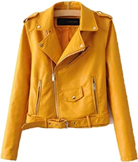 maweisong レディースファッションロングスリーブラペル偽フォークスレザージャケット