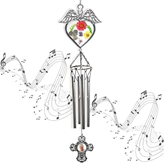 BANBERRY DESIGNS Mom Wind Chimes - Pressed Flower Angel Windchime with Metal Cross Photo Medallion - Mom's Garden Decor