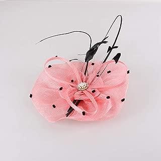 JIANYI JP 女性 ピンク 赤い 純網 羽の帽子 カクテルティー パーティー 帽子 (Color : Pink)