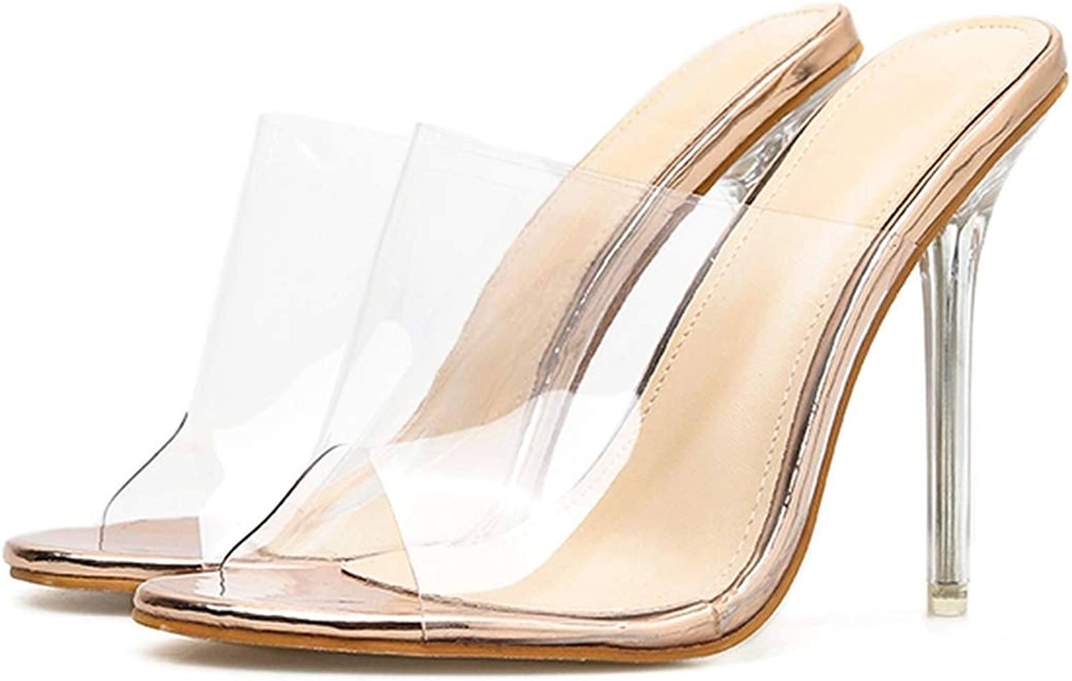 WC-hot Jelly Sandals Crystal Open Toed Sexy Thin Heels Crystal Women Transparent Heel Sandals