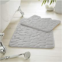 Gaveno Cavailia Premium 2 Piece Pebble Bath Mat Non Slip Pedestal Set, Extra Absorbent 100%Memory Foam Bathroom Toilet Ru...