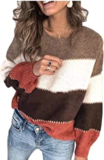 Womens Color Block Crewneck Sweaters Striped Long Sleeve Loose Knitted Pullover Jumper Tops
