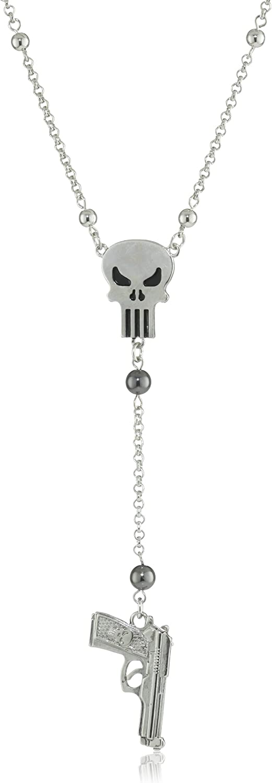 Marvel Comics Punisher Bead and Skull Gun Necklace