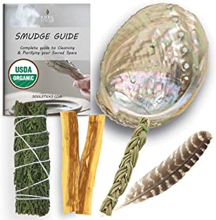 Ancientveda Sage Smudge Kit | USDA Organic Cedar Sage, Sweetgrass, Palo Santo Stick(s) Smudging Kit for Meditation, Yoga, ...