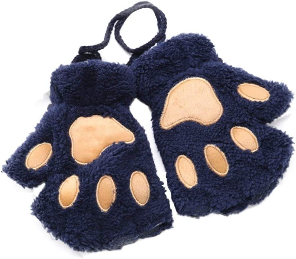 FASGION 2019 Winter Lovely Women Bear Cat Claw Paw Mitten Plush Gloves Short Finger Half Gloves Ladies Half Cover Female Gloves (Color : Blue, Gloves Size : One Size)
