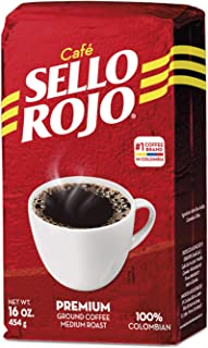 1LB Sello Rojo Coffee   Smooth and Flavorful Low Acidity Coffee with no Bitter Aftertaste or Heartburn   Medium Roast Ground Colombian Coffee   Cafe de Colombia
