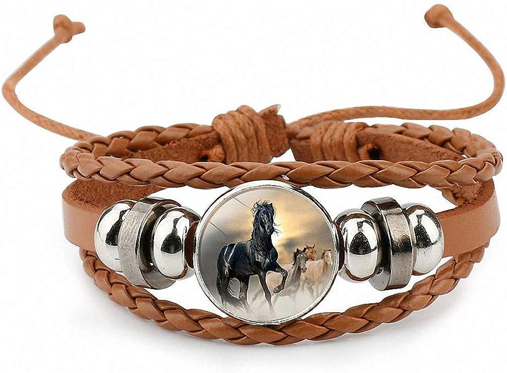 Giwotu Womens Horses Photo Handmade Glass Cabochon Braided Leather Charm Bracelets Bead Weave Punk Rock Male Bangle Gift
