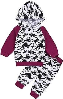 Yoveme Toddler Baby Boys Dinosaur Long Sleeve Hoodie Tops Sweatsuit Pants Outfit Set Winter Clothes