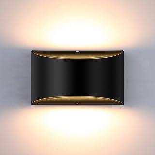 Glighone Applique Murale Intérieur LED Réglable Éclairage Lampe Murales Noir 10W Moderne Luminaire Mural Up Down Appliques...