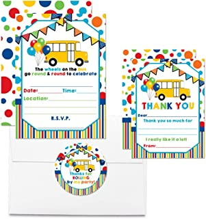 Deluxe Wheels on The Bus Birthday Party Bundle, Includes 20 Each of 5