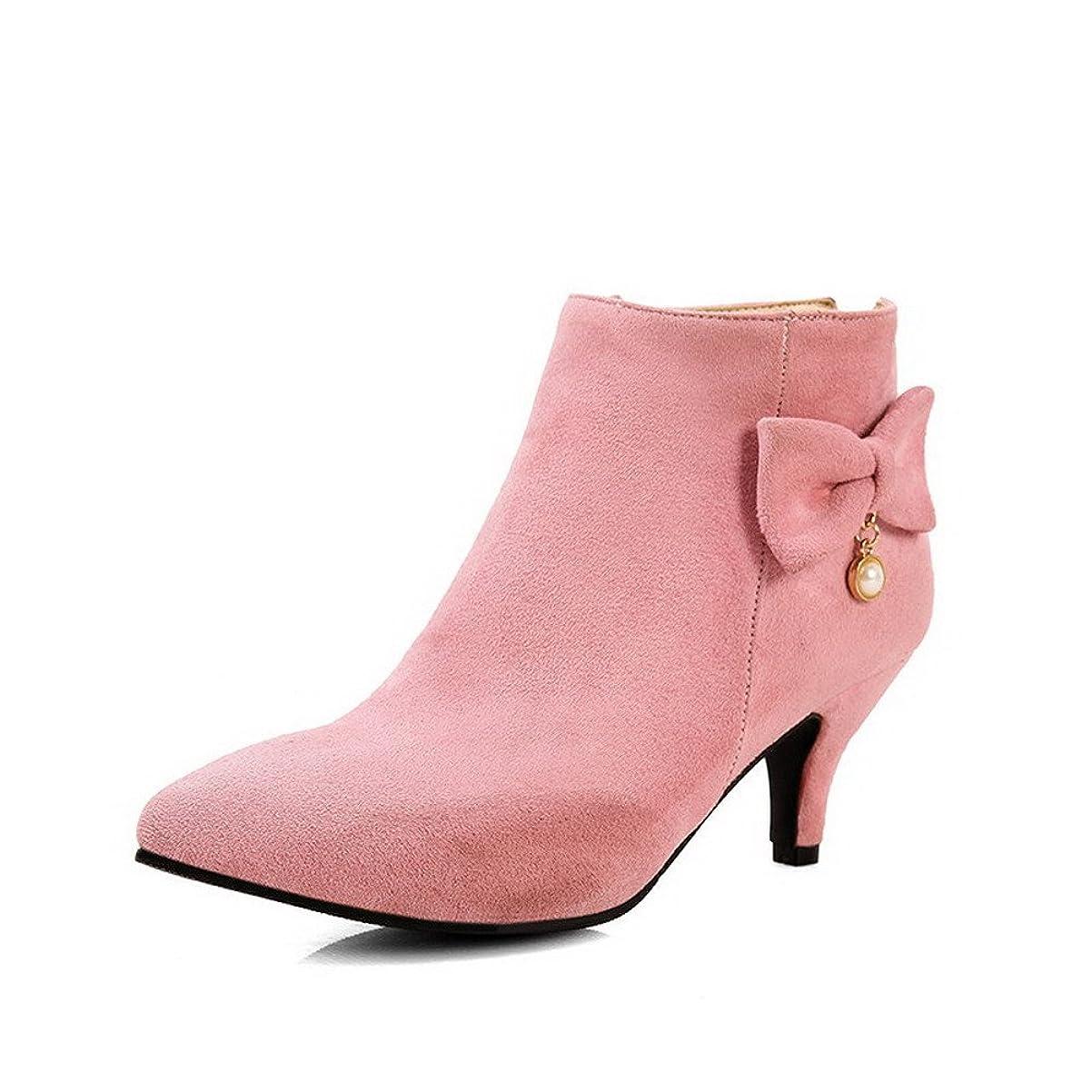 薬局ジェット薄い[オールエイチキューファッション] レディース PUの皮 ポインテッドトゥ 中ヒール ジッパー ブーツ