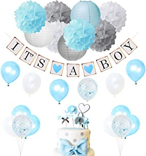 Decoraciones de Baby Shower para Boy Blue y Grey con Es un Banner de Boy,