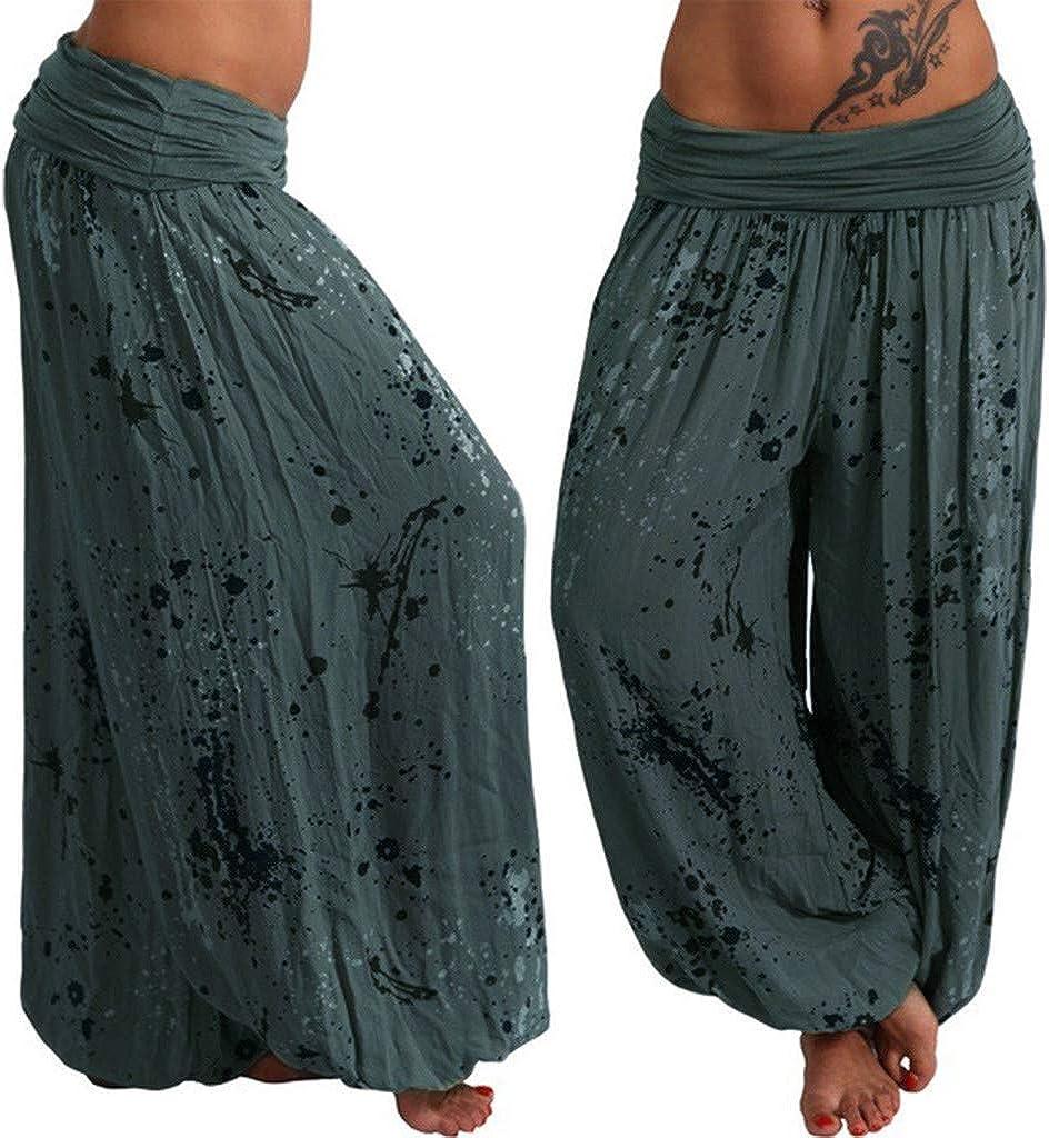 TOPGOD Women Ladies Printed Band Width Loose Leg Pants Women's Casual Pants