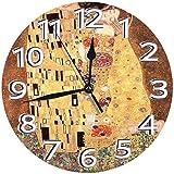 時計 壁掛け時計アナログクロックインテリア円形 静音 グスタフ・クリムト・ザ・キス1908オーストリアの象徴主義ヌーボー印刷印刷 掛置兼用フラットフェイス 家寝室居間 直径25cm 部屋装飾