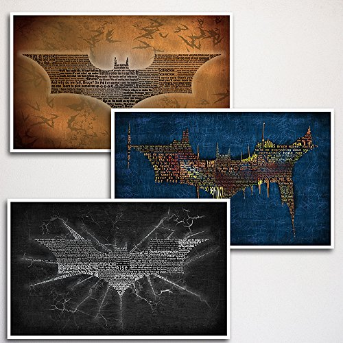 Batman Word Art Print Three Set - 11x17' unframed | typography art | made from quotes | wall home décor | Christopher Nolan series | movie art