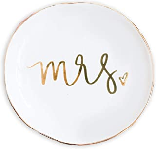 Mrs Jewelry Dish Small Gold Ceramic Ring Trinket Tray Wedding Gift For Bride Sweet Water Decor Wifey Desk Storage Accessories Miss Office Decor Hand Lettered Holder Mr Mrs Best Engagement Gifts Friend