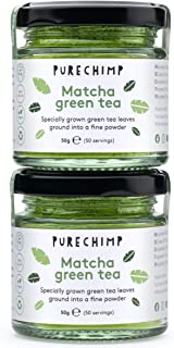 PureChimp Matcha Green Tea Powder 100g (2 x 50g Jars) - Packaged In Recyclable Glass - Ceremonial Grade From Japan