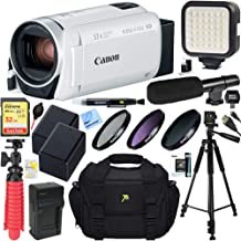 Canon VIXIA HF R800 Camcorder with 57x Advanced Zoom (White) + 32GB SD Card & Deluxe Microphone Accessory Bundle