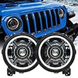 Z-OFFROAD New 9 Inch LED Halo Headlights with White DRL Compatible with 2018 2019 Jeep Wrangler JL 2020 Jeep Gladiator JT Accessories High Low Beam Adjustable Headlamp Replacement - 1 Pair Black