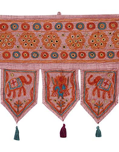 Rajrang Designer - met spiegeleffect - handgemaakte deurhanger, deurdecoratie - om op te hangen - olifant katoen licht bruin toran