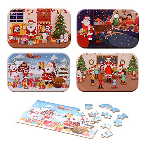 ATROPOS 4 Boxes Kids Christmas Jigsaw Puzzle Wooden Santa Claus Puzzle in an Iron Box for Child Early Educational