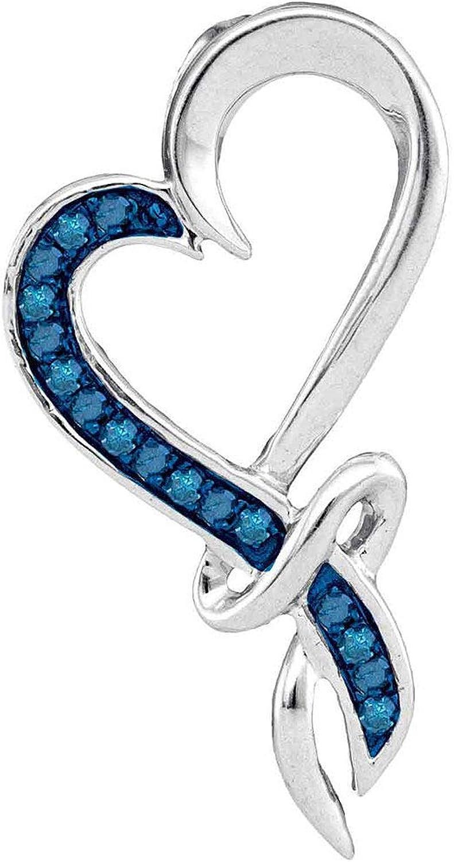 10kt White gold Womens Round bluee color Enhanced Diamond Heart Pendant 1 10 Cttw