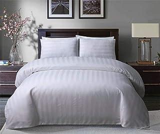 Sleepdown Soft Hotel Quality 250 THREAD COUNT POLYCOTTON Satin Stripe Duvet Cover Set With Pillowcases in White Colour(KIng)