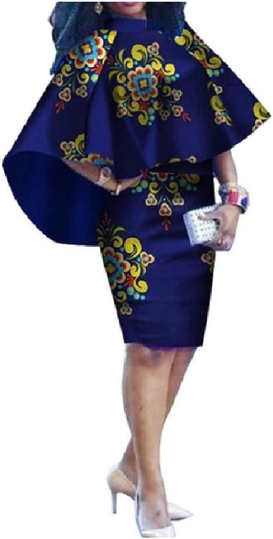 Abetteric Women's PlusSize Organic Cotton Poncho African Printed Dresses