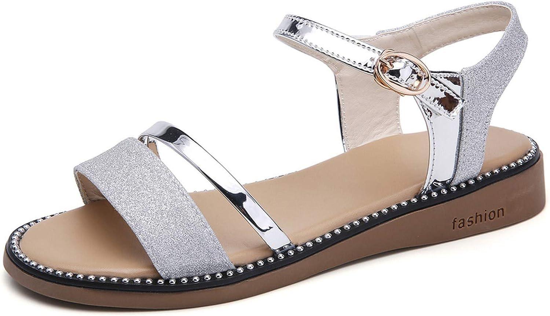 Efficiency Summer Women Sandals Black gold Flat Sandals Women Rubber Beach flip Flops Ladies Flat Heel Gladiator Sandals