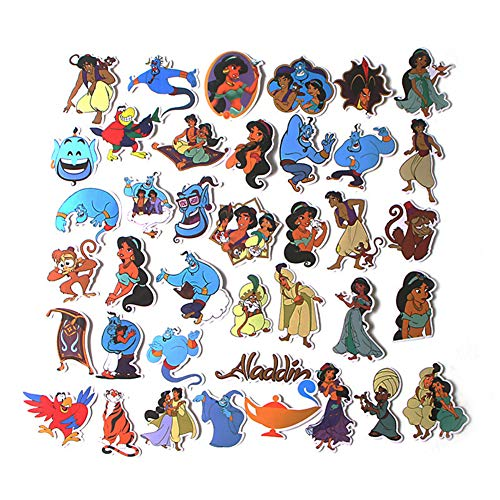 Cartoon Movie Aladdin Themed 39 Piece Sticker Decal Set for Kids Adults - Laptop Motorcycle Skateboard Decals