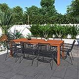 Amazonia Edinburgh 9-Piece Outdoor Rectangular Dining Table Set   Eucalyptus Wood   Ideal for Patio and Indoors
