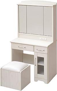 JKプラン Lycka land 三面鏡 ドレッサー&スツール ホワイト FLL-0034-WH