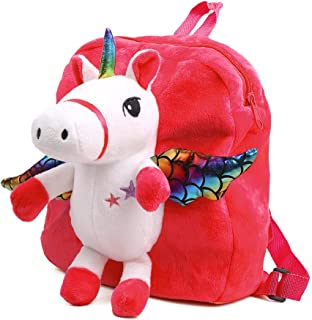 Unicorn Backpack for Kids, Cute Toddler Backpack Snack Travel Bag Preschool Shoulder Bag Stuffed Doll Toy Gift for 1 2 3 4 5 Year Old Girls (Red)