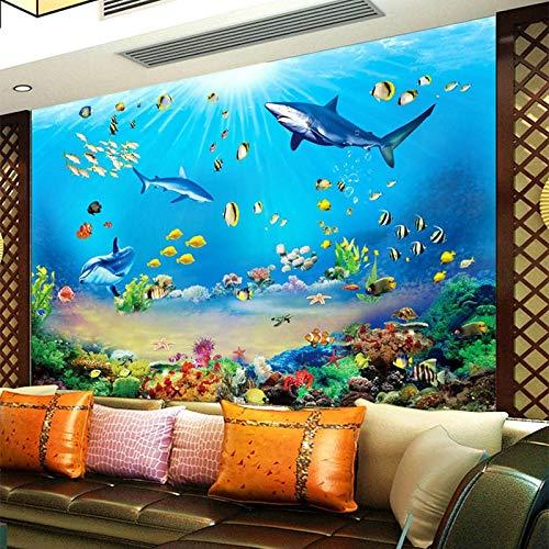 Wandbild Hintergrundbild FotoHD Unterwasserwelt Shark Tropical Fish 3D Wandbild Moderne Aquarium Wohnzimmer TV Kinder Schlafzimmer Hintergrund Wanddekor