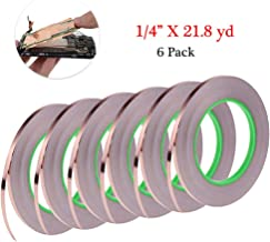 """6 Pack Copper Foil Tape, Cooyeah Double-Sided Conductive Adhesive Tape for EMI Shielding, Craft, Arts, Paper Circuits, Electrical Repairs, Grounding (1/4"""" x 21.8yd)"""