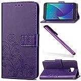Asus Zenfone V V520KL Case Cover EMAXELER Embossing Colour Stylish Kickstand Credit Cards Slot Cash Pockets PU Leather Flip Wallet for Asus Zenfone V V520KL Clover Purple
