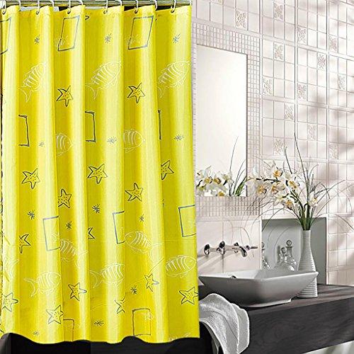 Rideaux de douche Rideau de douche Épaissir Salle de bains chaude Rideau en tissu Ombrage Rideau de douche Rideau de douche de bain Rideau de douche opaque Jaune (largeur * haute) Rideaux de douche de haute qualité