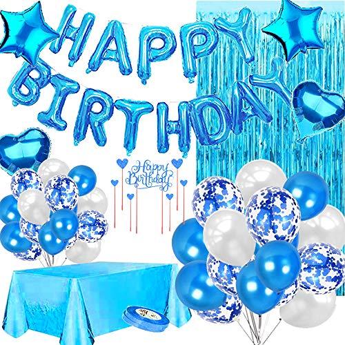 Sancuanyi Geburtstagsdeko Junge, Happy Birthday Ballons Folie und Latex Luftballons Brief Luftballons, blau alles Gute zum Geburtstag Kuchen Karte, Konfetti Luftballons,Tischdecken (blau)