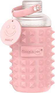 Simple HH Premium Glass Water Bottle with Spiked Silicone Sleeve for Travel, Narrow Mouth, BPA-Free & Dishwasher Safe   16oz (Pink Quartz)