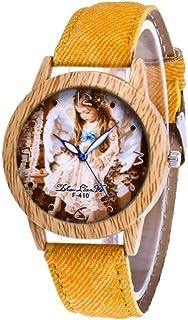 Reloj para Mujer, Movimiento de Cuarzo de Moda, Esfera de Madera con diseño de Chica con Anillo Exterior y Correa de Vaquero
