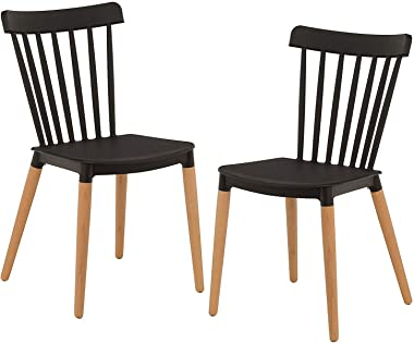 TIED RIBBONS Set of 2 Designer DSW Chairs for Office, Home, Living Room, Dining Room, Cafe, Side Chair, Accent Chair (Black)