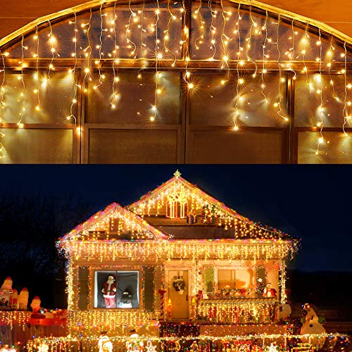Led Christmas Lights Outdoor Christmas Decorations Iciclelights 400LED 8 Modes 75 Drops, Outdoor Fairy String Lights for Party, Holiday, Wedding Decorations (Warm White)