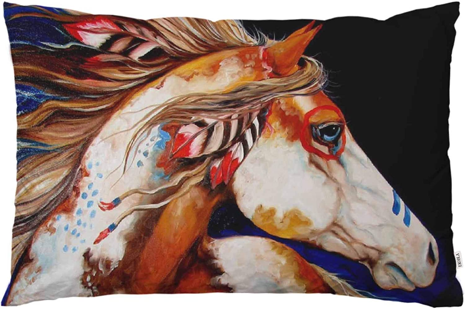 EKOBLA Throw Pillow Cover Indian Horse Oil Painting Feather Tribal Design Native American Style Cool Animal Decor Lumbar Pillow Case Cushion for Sofa Couch Bed Standard Queen Size 20x30 Inch