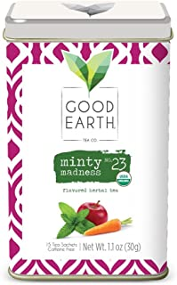 Good Earth Tea Minty Madness - Premium Organic Herbal Tea Sachets - Brightness of peppermint with sweet notes of organic a...