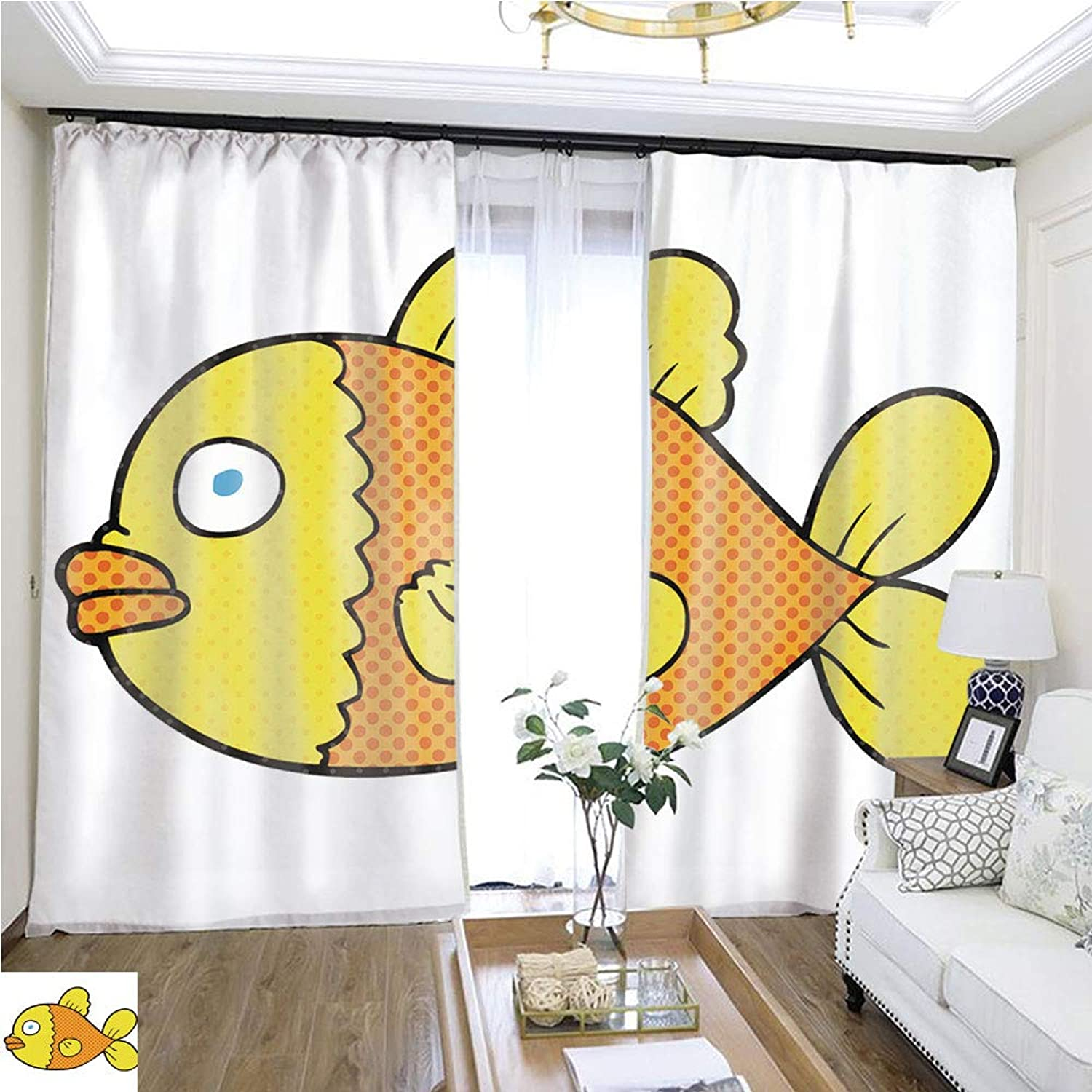Air Port Screen Comic Book Speech Bubble Cartoon fish1 W96 x L300 Provide Heat Highprecision Curtains for bedrooms Living Rooms Kitchens etc.