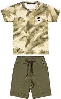 Conjunto camiseta + bermuda em moletom leve, Marisol, Meninos