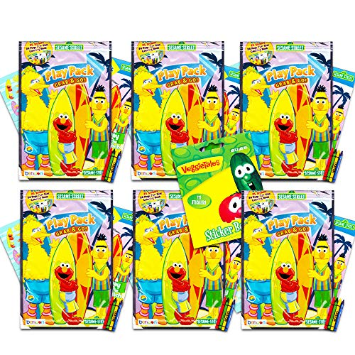 Sesame Street Elmo Ultimate Party Favors for Toddlers Kids Bundle -- 6 Sets with Stickers, Coloring Books and Crayons (Party Supplies)