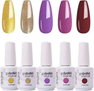 Arte Clavo 15ml Glitter Purple Gel Nail Polish Set -Soak Off UV LED Nail Gel Polish Art Varnish Popular Color Gel Polish M...